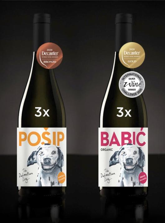 Dalmatian Dog box - karton 3 Pošipa i 3 Babića nagrađenih Decanterom