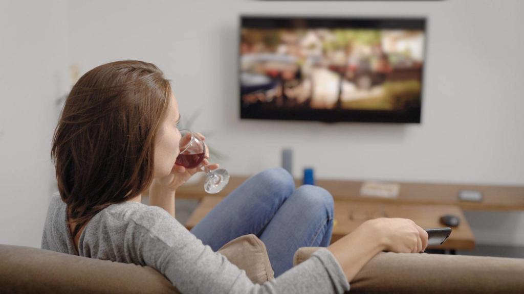 užitak gledanja televizije uz čašu vina